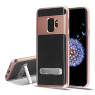 Airium Hybrid Protector Cover (with Magnetic Metal Stand) for Samsung Galaxy S9 - Rose Gold / Transparent Clear