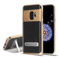 Airium Hybrid Protector Cover (with Magnetic Metal Stand) for Samsung Galaxy S9 - Gold / Transparent Clear