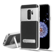 Airium Hybrid Protector Cover (with Magnetic Metal Stand) for Samsung Galaxy S9 Plus - Silver / Transparent Clear