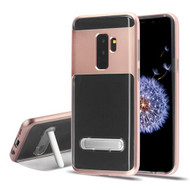 Airium Hybrid Protector Cover (with Magnetic Metal Stand) for Samsung Galaxy S9 Plus - Rose Gold / Transparent Clear