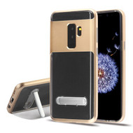 Airium Hybrid Protector Cover (with Magnetic Metal Stand) for Samsung Galaxy S9 Plus - Gold / Transparent Clear