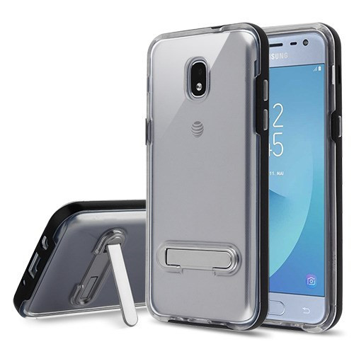 Airium Hybrid Protector Cover (with Magnetic Metal Stand) for Samsung J337 (Galaxy J3 (2018)) - Black / Transparent Clear