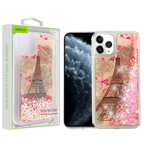 Airium Quicksand Glitter Hybrid Protector Cover for Apple iPhone 11 Pro - Eiffel Tower & Pink Hearts