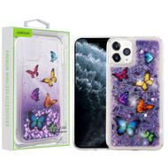 Airium Glitter Hybrid Protector Cover for Apple iPhone 11 Pro - Butterfly Dancing & Purple Quicksand (Hearts)