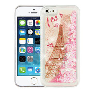 Airium Quicksand Glitter Hybrid Protector Cover for Apple iPhone 5c - Eiffel Tower & Pink Hearts