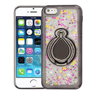 Airium Quicksand Glitter Hybrid Protector Cover for Apple iPhone 5s/5 - Electroplating Gun Metal / Silver Confetti
