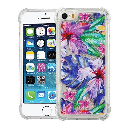 Airium Quicksand Glitter Hybrid Protector Cover for Apple iPhone 5s/5 - Watercolor Hibiscus & Silver Confetti Anti-Drop