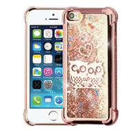 Airium Quicksand Glitter Hybrid Protector Cover for Apple iPhone 5s/5 - Electroplating Rose Gold / Owl & Rose Gold Confetti