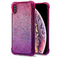 Airium Quicksand Glitter Hybrid Protector Cover for Apple iPhone XS Max - Hot Pink and Purple / Silver Confetti