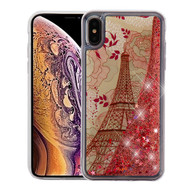 Airium Quicksand Glitter Hybrid Protector Cover for Apple iPhone XS Max - Eiffel Tower & Rose Gold Stars