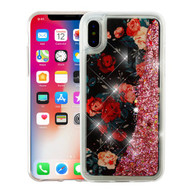 Airium Quicksand Glitter Hybrid Protector Cover for Apple iPhone XS/X - Red and White Roses & Pink Confetti