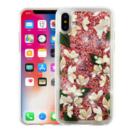 Airium Quicksand Glitter Hybrid Protector Cover for Apple iPhone XS/X - Sally Flower & Rose Gold