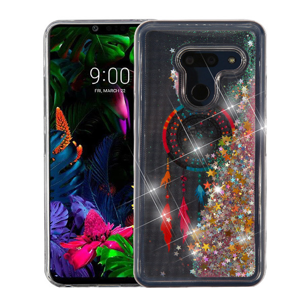 Airium Quicksand Glitter Hybrid Protector Cover for Lg G8 ThinQ - Dreamcatcher & Gold Stars