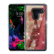 Airium Quicksand Glitter Hybrid Protector Cover for Lg G8 ThinQ - Eiffel Tower & Rose Gold Stars