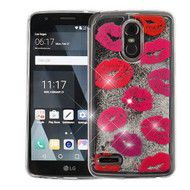 Airium Quicksand Glitter Hybrid Protector Cover for Lg Stylo 3 Plus - Blissful Kisses & Silver
