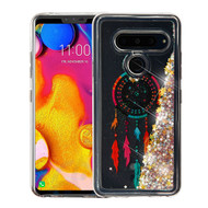 Airium Quicksand Glitter Hybrid Protector Cover for Lg V40 ThinQ - Dreamcatcher & Gold Stars