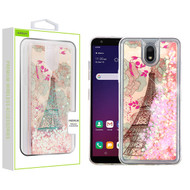 Airium Quicksand Glitter Hybrid Protector Cover for Lg X320 (Escape Plus) - Eiffel Tower & Pink Hearts