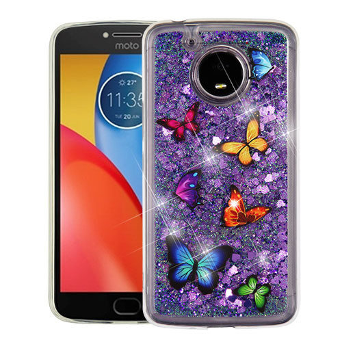 Airium Glitter Hybrid Protector Cover for Motorola XT1773 (Moto E4 Plus) - Butterfly Dancing & Purple Quicksand (Hearts)