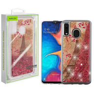Airium Quicksand Glitter Hybrid Protector Cover for Samsung Galaxy A20 - Eiffel Tower & Rose Gold Stars