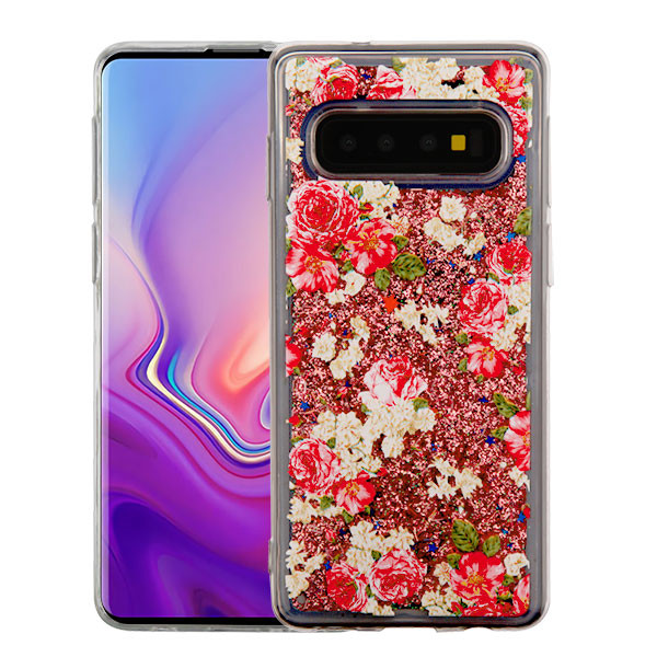 Airium Quicksand Glitter Hybrid Protector Cover for Samsung Galaxy S10 - European Rose & Rose Gold