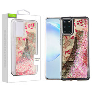 Airium Quicksand Glitter Hybrid Protector Cover for Samsung Galaxy S20 PLUS (6.7) - Eiffel Tower & Pink Hearts