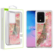 Airium Quicksand Glitter Hybrid Protector Cover for Samsung Galaxy S20 Ultra (6.9) - Eiffel Tower & Pink Hearts