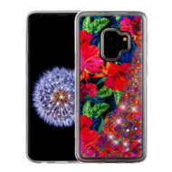 Airium Quicksand Glitter Hybrid Protector Cover for Samsung Galaxy S9 - Electric Hibiscus & Magenta Hearts