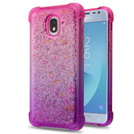 Airium Quicksand Glitter Hybrid Protector Cover for Samsung J337 (Galaxy J3 (2018)) - Hot Pink and Purple / Silver Confetti