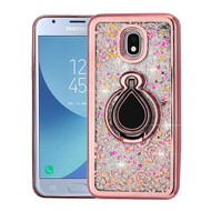 Airium Quicksand Glitter Hybrid Protector Cover for Samsung J337 (Galaxy J3 (2018)) - Electroplating Rose Gold / Iris / Silver Confetti