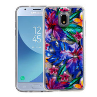 Airium Quicksand Glitter Hybrid Protector Cover for Samsung J337 (Galaxy J3 (2018)) - Watercolor Hibiscus & Silver