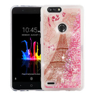 Airium Quicksand Glitter Hybrid Protector Cover for Zte Sequoia - Eiffel Tower & Pink Hearts