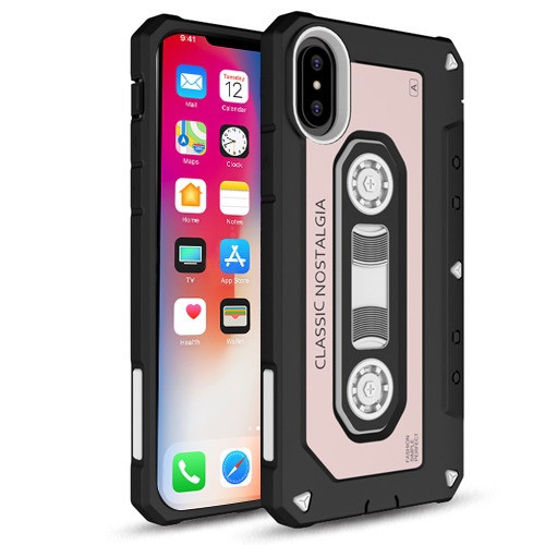 Airium Cassette (Rose Gold Cover) Hybrid Protector Cover for Apple iPhone XS/X - White / Black