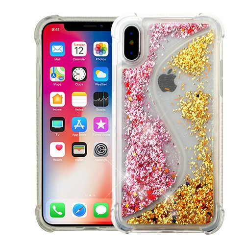 Airium Quicksand Glitter Hybrid Protector Cover for Apple iPhone XS/X - Transparent S-shaped Pink / Gold