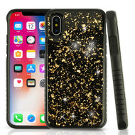 Airium Hybrid Protector Cover for Apple iPhone XS/X - Gold Flakes Gel / Black