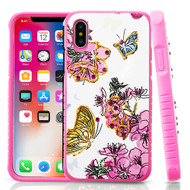 Airium Diamante Hybrid Protector Cover for Apple iPhone XS/X - Butterfly & Flowers / Hot Pink
