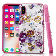 Airium Diamante Hybrid Protector Cover for Apple iPhone XS/X - Violet / Hot Pink