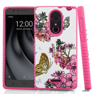 Airium Diamante Hybrid Protector Cover for Coolpad C3701A (Revvl Plus) - Butterfly & Flowers / Hot Pink