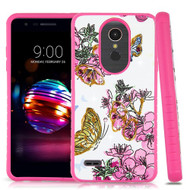 Airium Diamante Hybrid Protector Cover for Lg L413DL (Premier Pro) - Butterfly & Flowers / Hot Pink