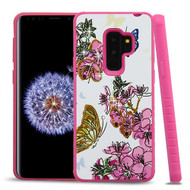 Airium Diamante Hybrid Protector Cover for Samsung Galaxy S9 Plus - Butterfly & Flowers / Hot Pink