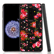 Airium Diamante Hybrid Protector Cover for Samsung Galaxy S9 Plus - Romantic Love Flowers / Black