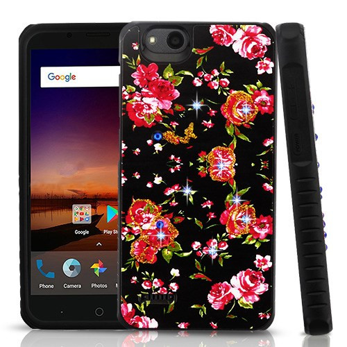 Airium Diamante Hybrid Protector Cover for Zte Fanfare 3 - Romantic Love Flowers / Black