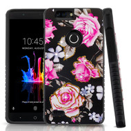 Airium Diamante Hybrid Protector Cover for Zte Z982 (Blade Z Max) - City Flowers / Black