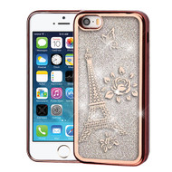 Airium Quicksand Glitter Hybrid Protector Cover for Apple iPhone 5s/5 - Rose Gold Electroplating / Eiffel Tower / Silver