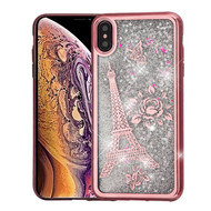 Airium Quicksand Glitter Hybrid Protector Cover for Apple iPhone XS Max - Rose Gold Electroplating / Eiffel Tower / Silver