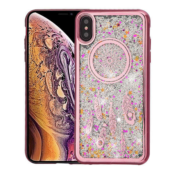 Airium Quicksand Glitter Hybrid Protector Cover for Apple iPhone XS Max - Rose Gold Electroplating / Dreamcatcher / Silver Confetti