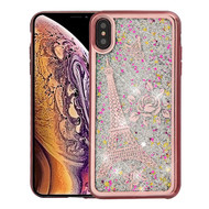 Airium Quicksand Glitter Hybrid Protector Cover for Apple iPhone XS Max - Rose Gold Electroplating / Eiffel Tower / Silver Confetti