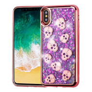 Airium Quicksand Glitter Hybrid Protector Cover for Apple iPhone XS/X - Rose Gold Electroplating / Cute Skulls / Purple Meteor Shower