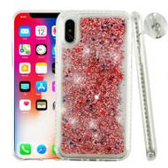 Airium Quicksand Glitter Hybrid Protector Cover for Apple iPhone XS/X - Diamante Frame (Transparent Clear) / Rose Gold Confetti