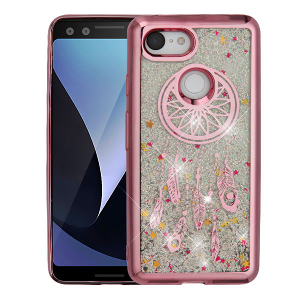 Airium Quicksand Glitter Hybrid Protector Cover for Google Pixel 3 - Rose Gold Electroplating / Dreamcatcher / Silver Confetti