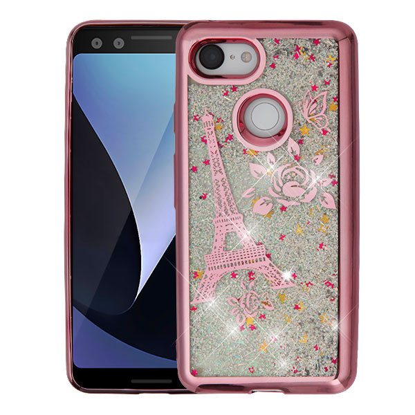 Airium Quicksand Glitter Hybrid Protector Cover for Google Pixel 3 - Rose Gold Electroplating / Eiffel Tower / Silver Confetti